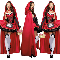 2017 Little Red Riding Hood Costume For Women Fancy Adult Halloween Cosplay Fantasia Plus Size XL