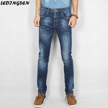 9a53bcd0bb LEDINGSEN hombres Ripped Blue Jeans Homme Slim Fit Jeans hombres rectos  flacos largos pantalones vaqueros para hombre calidad nu.