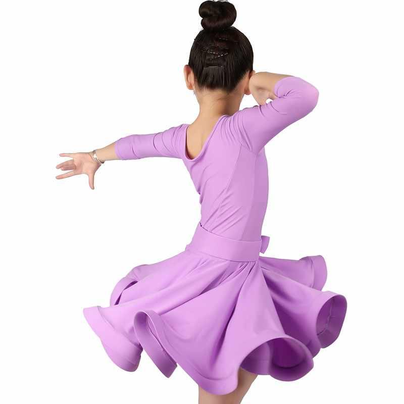 Mädchen Ballroom Dance Kleider Junior Latin Kleid Knie Länge Flamenco Dance Kostüme