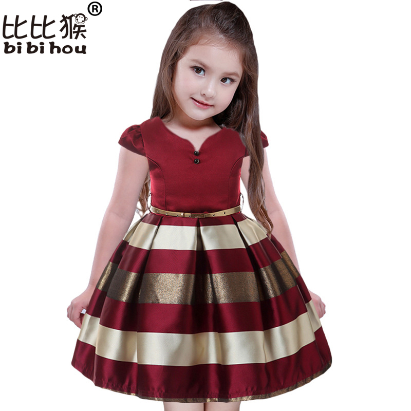V-Neck Party Girls Dresses Brand Princess Dress stripe Girl Baby Party Dress Birthday Clothing girl party dress carnival costume easter carnival costume kid girls princess dress strapless infant party dress children clothing cartoon doodle graffiti minnie