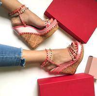 Newest women gladiator sandals super high heels sandals summer pink green shoes rivet decor platform wedges sandal mixed colors