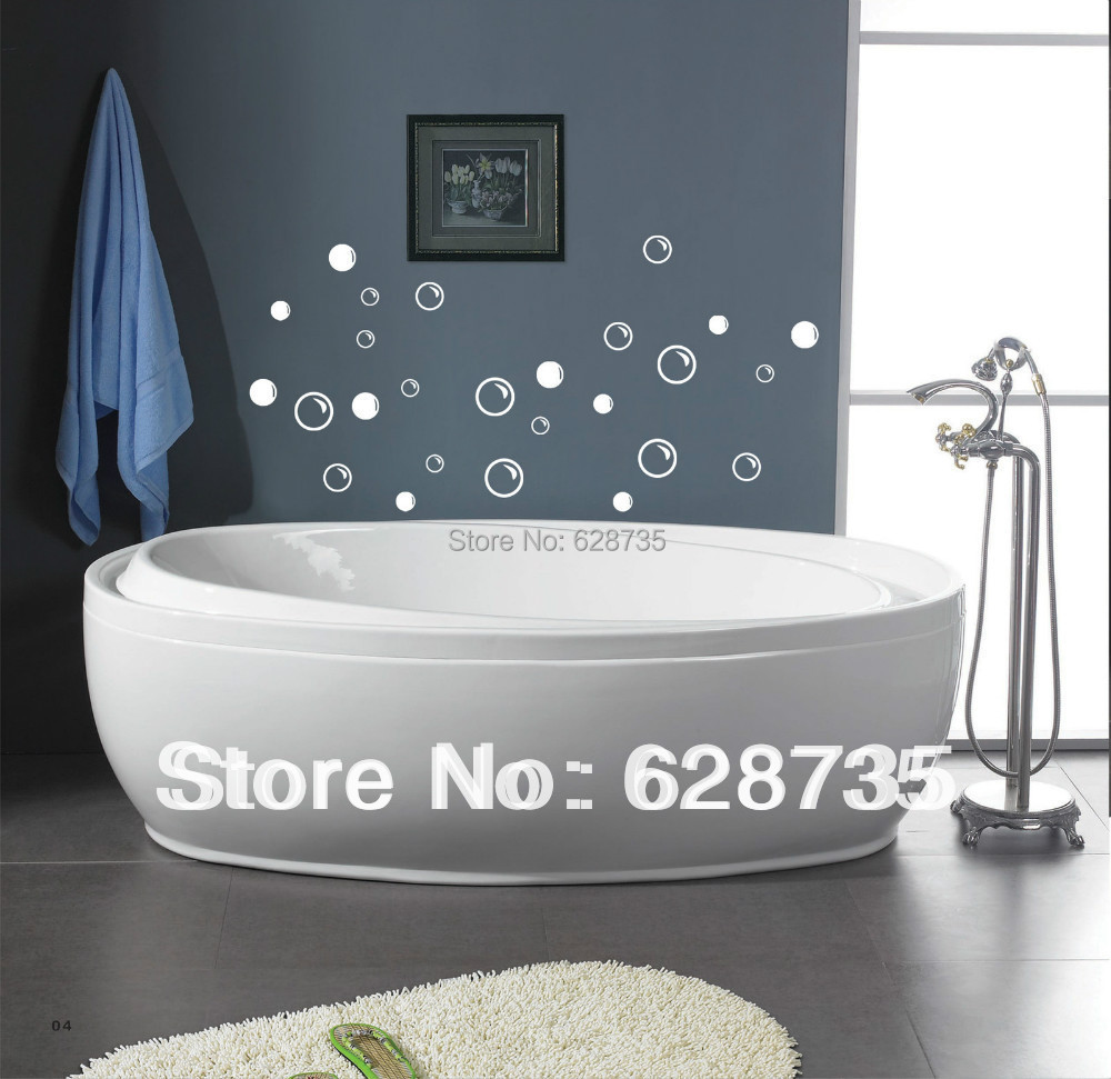 Bathroom wall decor quotes - Free Shipping Waterproof Bathroom Tile Stickers 50 Soap Bubbles Bathroom Decor Wall Quote Art Vinyl