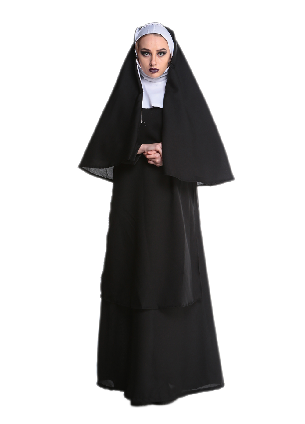Wholesale Virgin Mary Nuns Costumes for Women Sexy Long Black Nuns Costume Arabic Religion Monk Ghost Uniform Halloween