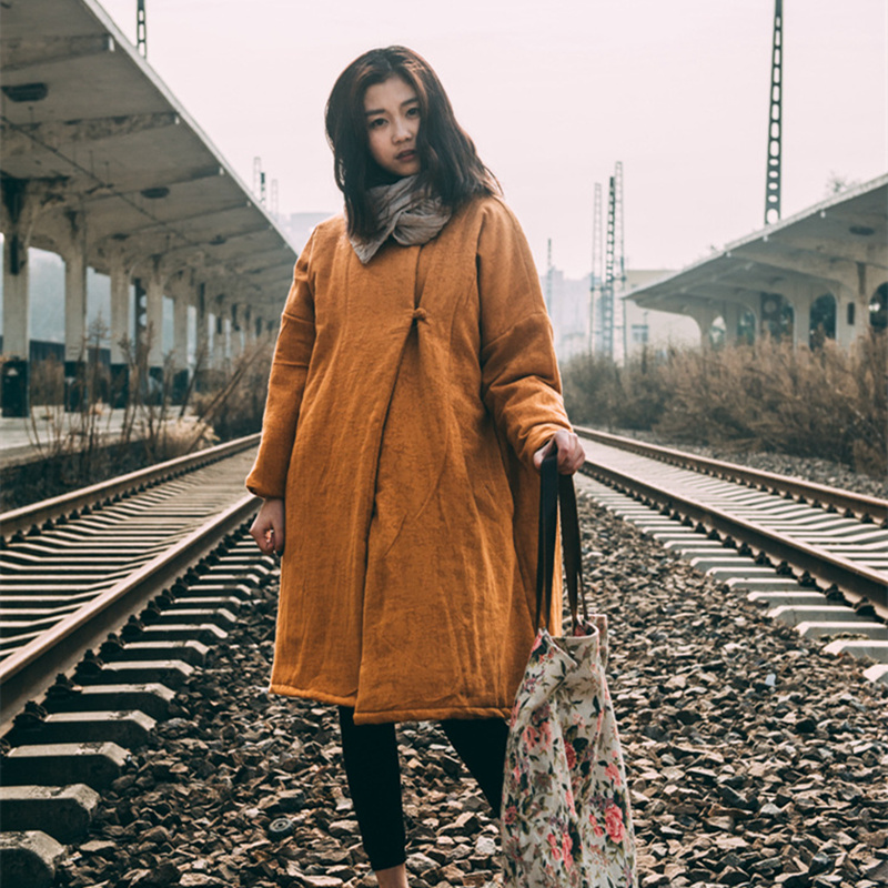 Johnature 2018 Winter Women Jacquard   Parkas   Coats New Vintage National Style Simple Solid Color Loose Buckle Cotton Linen Coats