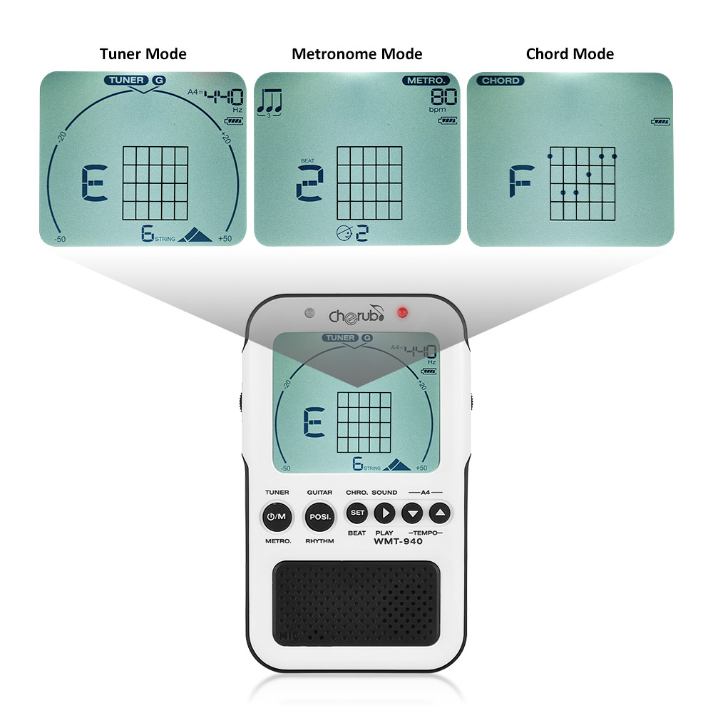 Cherub wmt 940 4 in 1 guitar chord tool chromatic tuner cherub wmt 940 4 in 1 guitar chord tool chromatic tuner metronome tone generator lcd display in guitar parts accessories from sports entertainment hexwebz Images