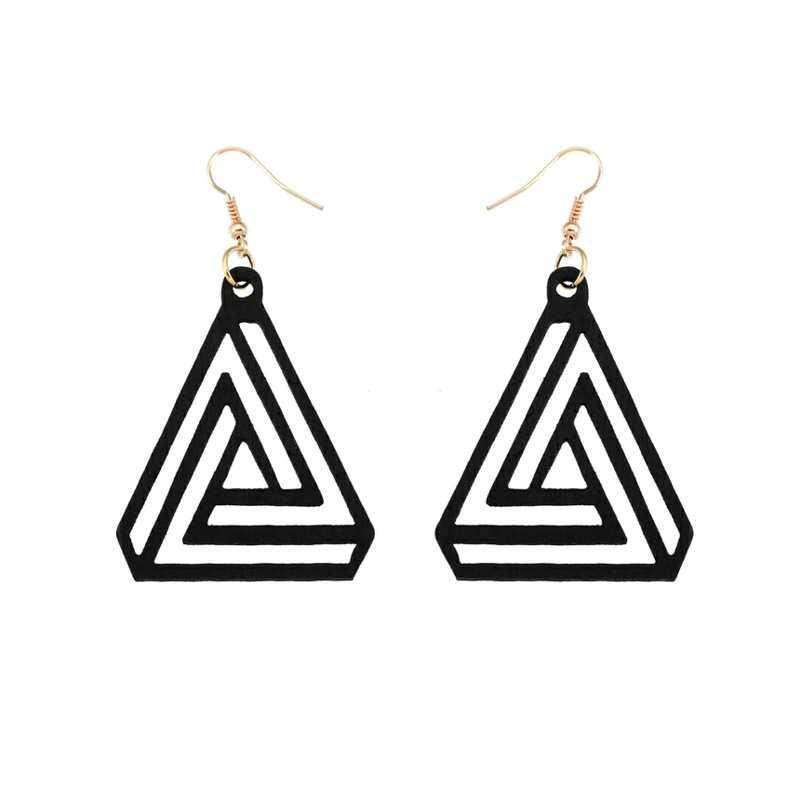 Black Wood Earrings Black Dangle Earrings Triangle Dangle Earrings Black Triangle Earrings Triangle Gift Wood Triangle Earrings
