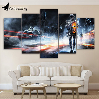 5 panel canvas art HD Printed Battlefield Game Painting children's room decor print poster picture canvas Free shipping/ny-3007