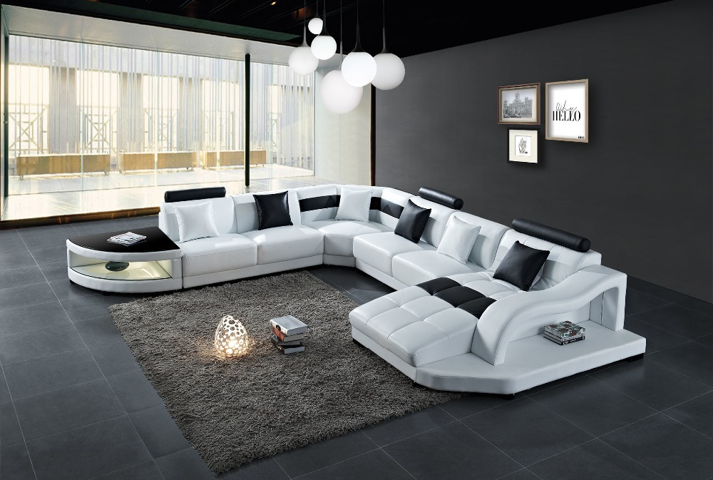 Comfortable Simple U-Shape Modern Genuine Leisure leather sofa Best-Selling Brief Casual Chair home furniture with side table 7
