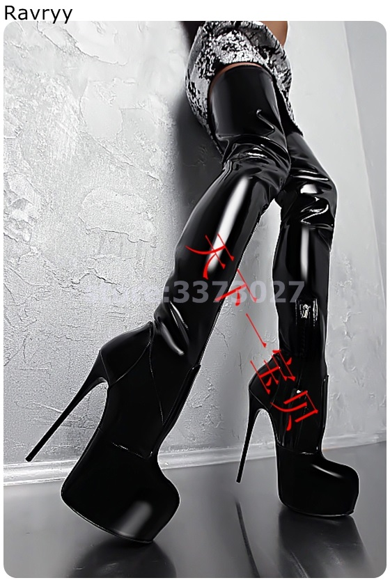 Черные женские высокие сапоги из лакированной кожи женские ботфорты модные вечерние модельные туфли на платформе и каблуке в сдержанном ст