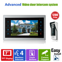 Homefong 7″ TFT 1200TVL Door Monitor Video Intercom Home Door Phone Recorder System SD/TF Card Supported Waterproof Rain Cover