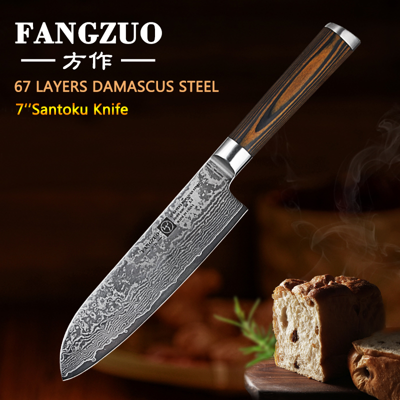 FANGZUO 7 quot Damascus Santoku Knives Stainless steel head colored wood handle Utility Japanese Style Kitchen Cooking Chef Knife in Kitchen Knives from Home amp Garden