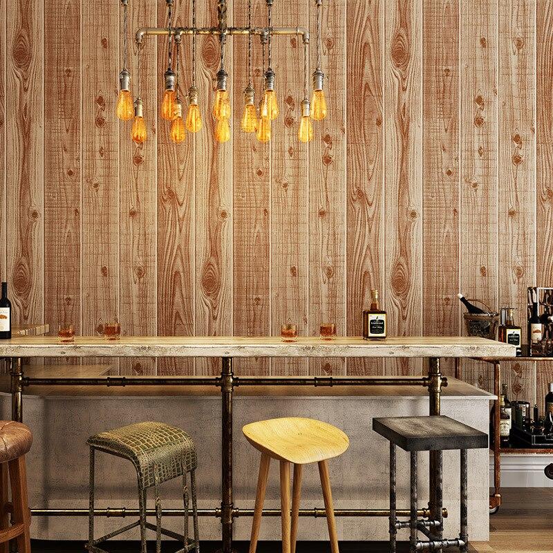 Купить с кэшбэком Vintage Rustic 3D Wood Wallpapers Decor Home Papel Murals Wall Paper 3D Roll for Bedroom Tea House Shop Walls vinilos pared