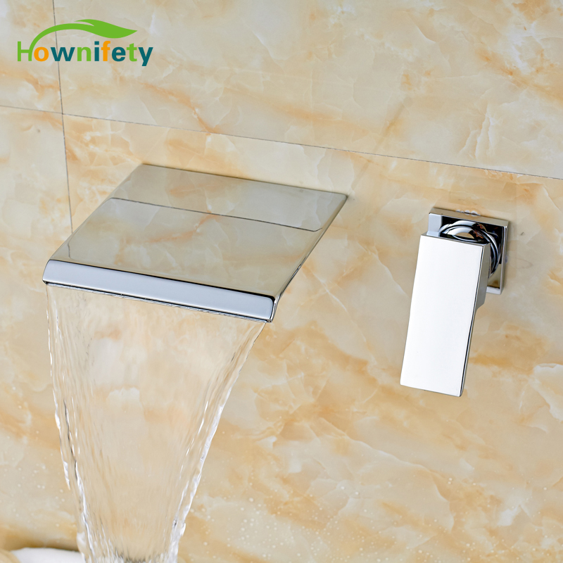Chrome Polished Waterfall Spout Bathroom Sink Faucet Single Handle Tub Mixer Tap Wall Mounted polished chrome widespread waterfall spout bathroom tub faucet dual handles tap