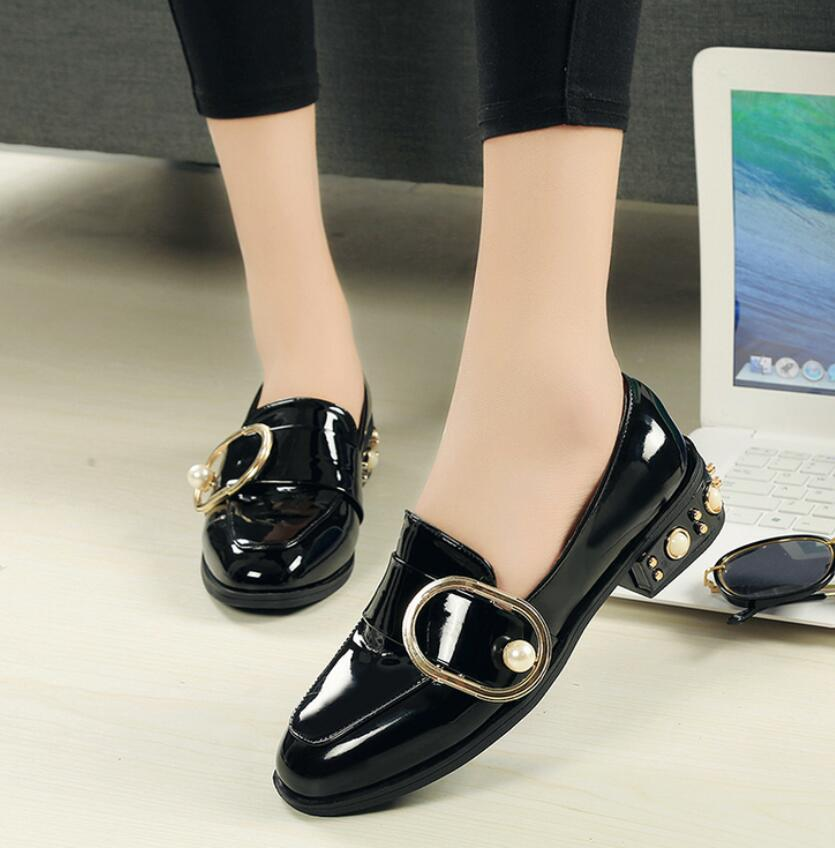 New Flats Women Four Seasons 2018 Casual black loafers Shoes Women Flat Leather shoes Fashion Leather Flats Women Oxford Shoes lovexss casual oxford shoes fashion metal decoration shallow shoes black purple genuine leather flats woman casual oxford shoes