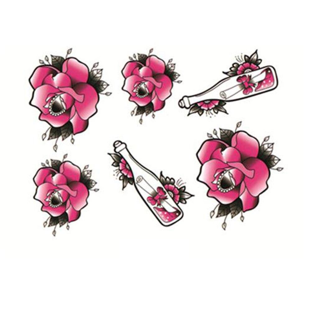 Yeeech Temporary Tattoos Sticker for Women Fake Pink Rose Drift Bottle Designs Sexy Arm Leg Hand DIY Body Art Makeup Waterproof