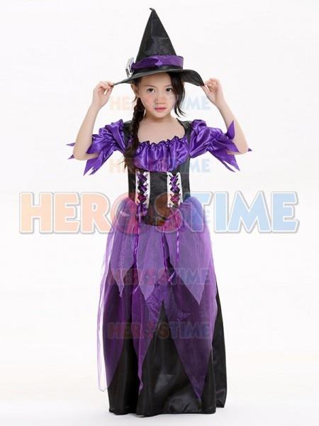 2017 Kids Halloween Costumes Purple Witch Costume