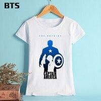 BTS Captain America T Shirt Women Summer Style T Shirt Women Short Fashion Basic Casual Printed