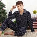 Pijamas Homens Impressão Pijama Homme Casual Plus Size Algodão Sleepwear Salão Mens Wear Loungewear Conjuntos de Sono de Inverno
