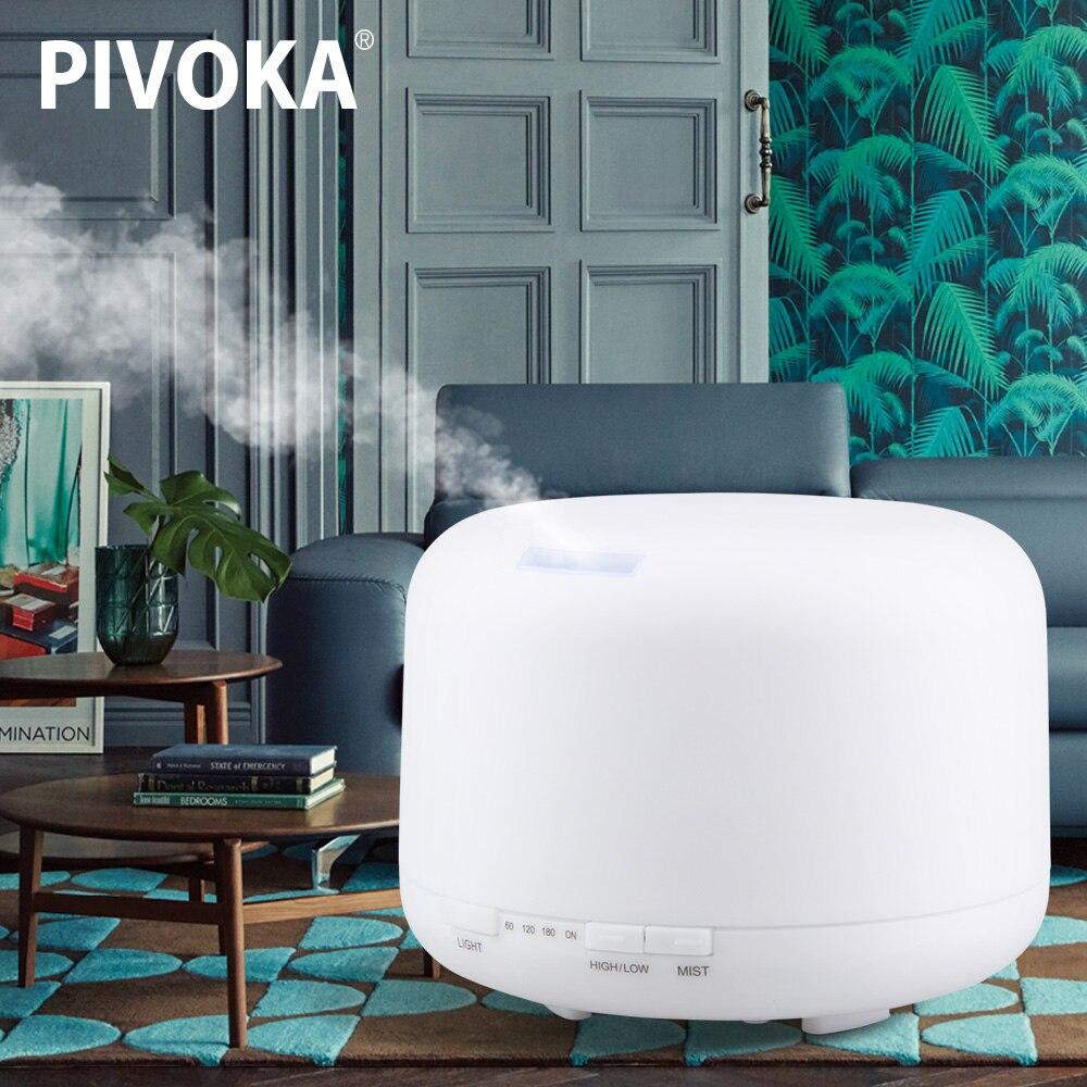 PIVOKA 500 ml Ultraschall Air Aroma Luftbefeuchter Essentiel Öl Aromatherapie Maschine Nebel Maker 7 Farbe Ändern LED Licht für Home 168