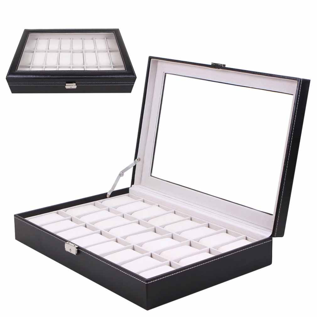 Black PU Leather 24 Grid Wristwatch Watch Box Jewelry Storage Case Organizer Classical Holder Foam Pad Pillow Transparent Glass