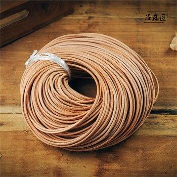 Cordón de cuero de vaca, cordón de joyería de cuero, Perú, tamaño: alrededor de 2mm de diámetro, 100 m/paquete