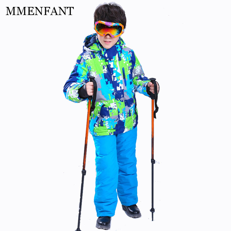Children sets 2017 NEW boys Ski Suit Super Warm Clothing Skiing Snowboard Jacket+Pants Suit Windproof Waterproof Winter Wear 2015 new arrive super league christmas outfit pajamas for boys kids children suit st 004