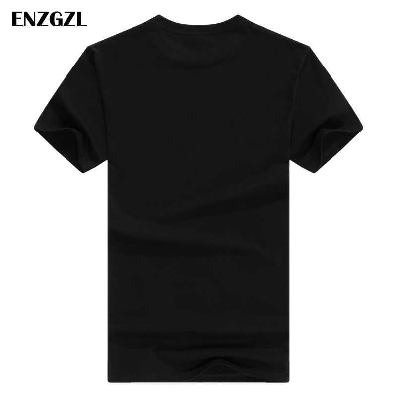 ENZGZL 2018 Nieuwe T-shirt Mannen Casual Tops Katoen Comfortabele WITTE MARVEL ZWART streetwear t-shirt Hoge Kwaliteit Fit Effen Kleur