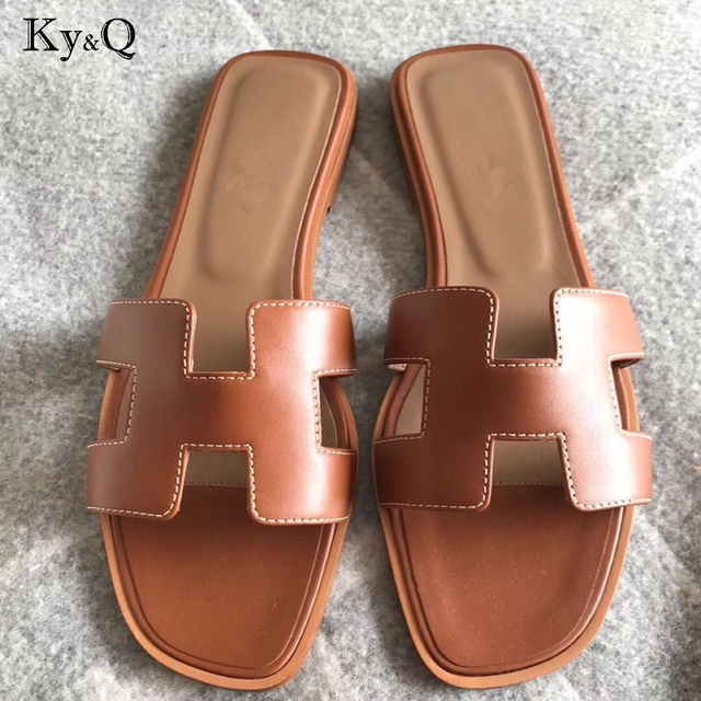 5e7b3423541 Brands Luxury slippers cut out summer beach sandals Fashion women slides  outdoor slippers indoor slip ons