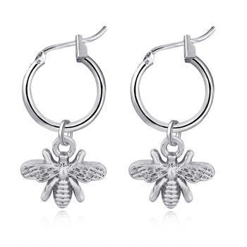 European Stereoscopic Trend  Cute Bee Hoop Earrings With Pendant Gold Silver Color Lovely Fashion Jewelry 2