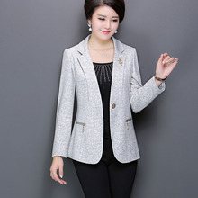Free shipping 2016 Mother wear autumn fashion large size pure color 40-50 year old blazers in elderly women's suit outerwear XL