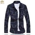 Большой Размер Печати Хлопок Camiseta Masculina 5XL 6XL Brand Clothing Slim Fit Мужчины Рубашка 2 Цвет Белый Синий Сорочка Homme 11.11 2017