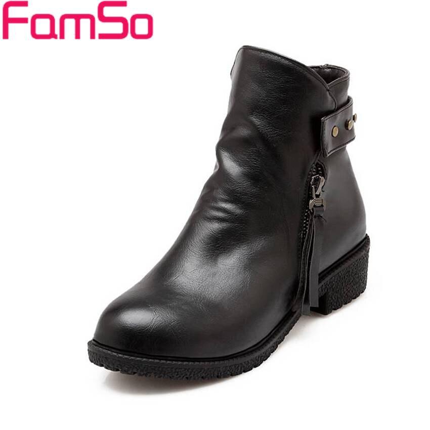 Plus Size34 43 2016 New Sexy font b Women b font Autumn Ankle Boots Short Dress
