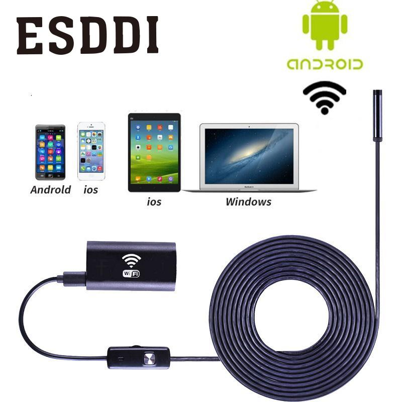 Esddi Wifi For iOS Android Endoscope 720P 2.0MP 8mm 1M 6LED Tube Waterproof Camera Professional Snake Inspection Pipe Mini Cam