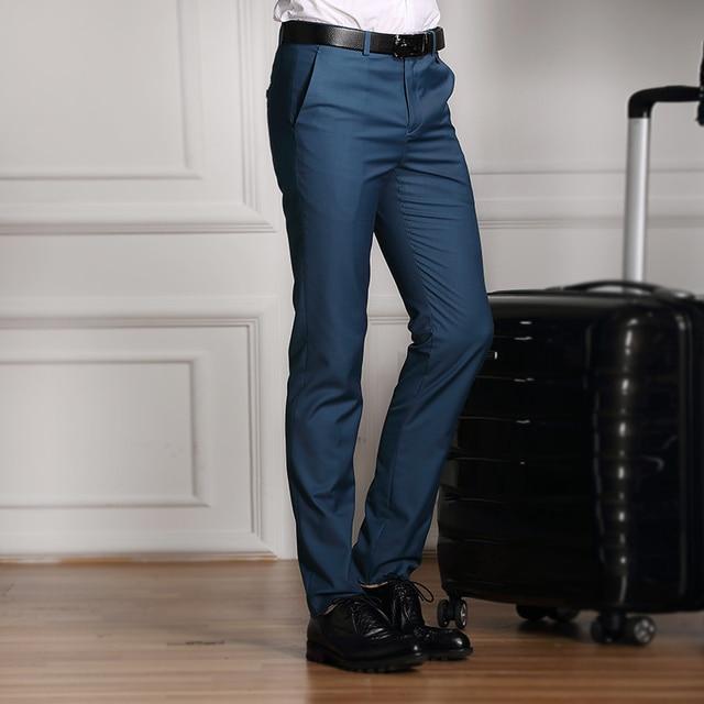 El nuevo 2016 de Boda Formal de Los Hombres Traje de Pantalones de Moda Slim Fit Marca Casual de Negocios Blazer Recta Pantalones de Vestir de alta grado Masculina