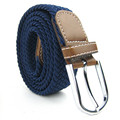 Fashion Men and Women's Canvas belt elastic stretch canvas belt pin buckle Knitted Belt braided belts young students