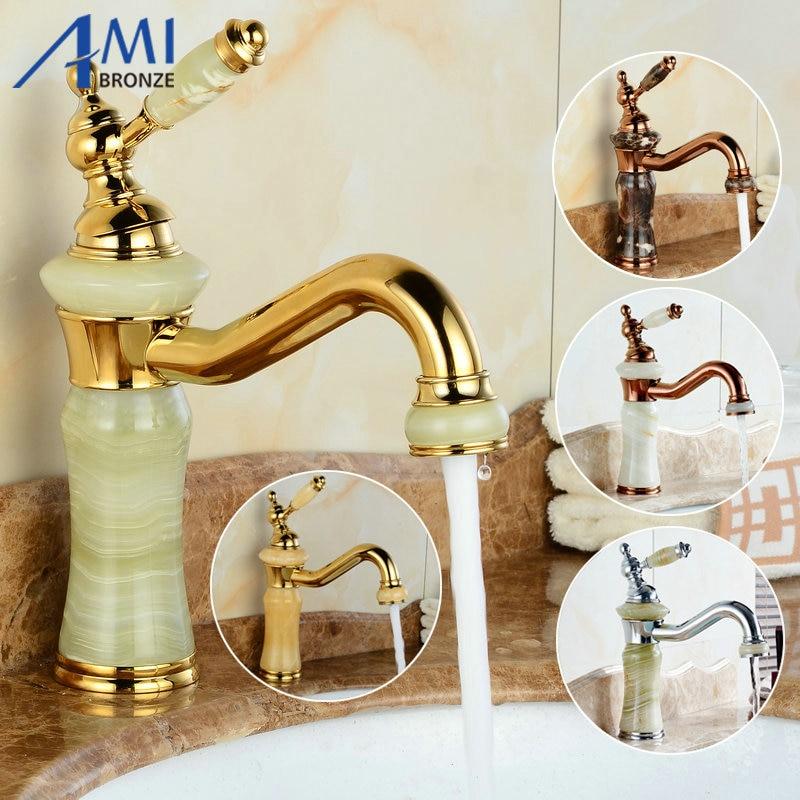 Здесь продается  2016 Newly Basin Faucet Gold/Rose/Chrome Polished 360 Swivel Spout Brass & Jade Hot Cold Mixer Basin Tap Luxury Faucet Crane  Строительство и Недвижимость