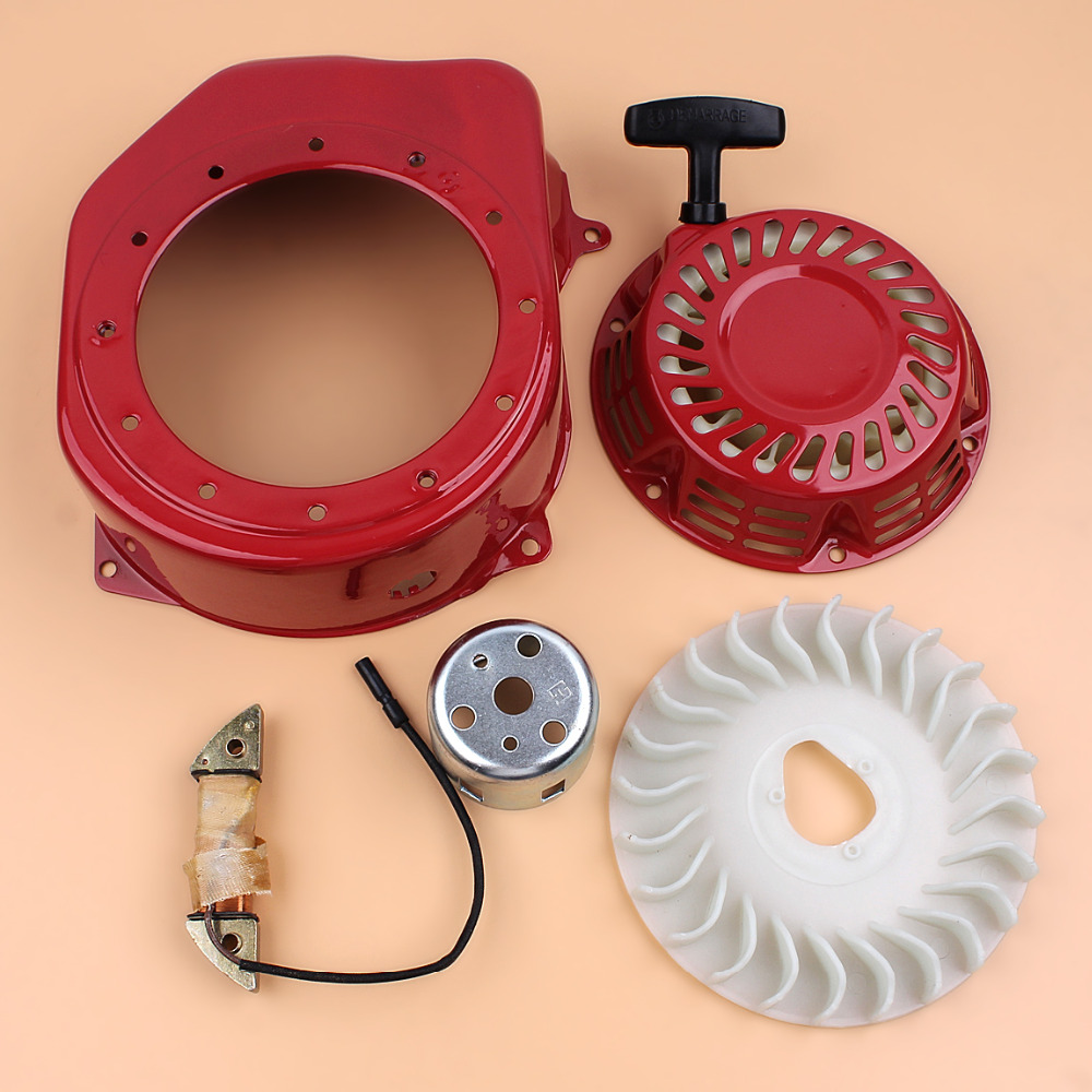 Recoil Starter Flywheel Cooling Fan Charging Coil Kit Fit Honda GX200 GX160 GX 200 160 6.5HP 5.5HP 2-3KW Engine Motor Generator 1 set recoil starter cup assembly red pull start for honda gx120 gx160 gx200 engine