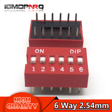10PCS DIP Switch 6 Way 2.54mm Toggle Switch Red Snap Switch Wholesale Electronic