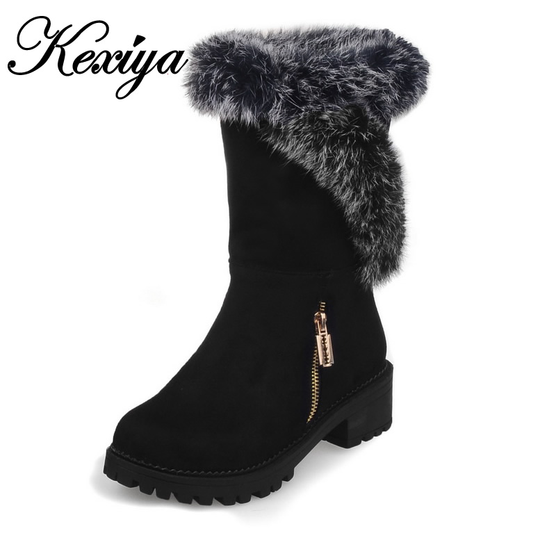 2016 Warm winter women short boots fashion suede mid thick heel shoes big size 30-52 Round Toe ladies Slip-On Mid-Calf boots