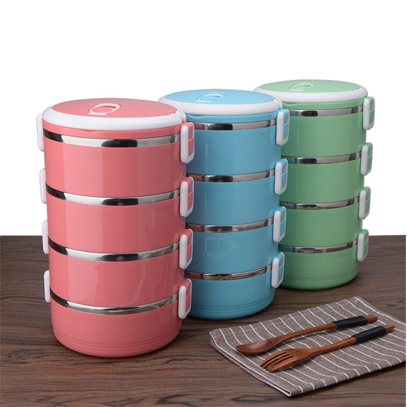 Stainless Steel Bento Lunch Box Kids Food Container Round Shape Portable Picnic box Upgraded Reinforced version