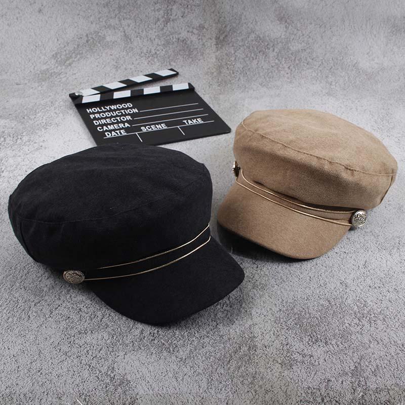 Fashion hat cap women Casual streetwear flat top cap Elegant solid autumn winter warm beret hat female Golden rope at front 2018