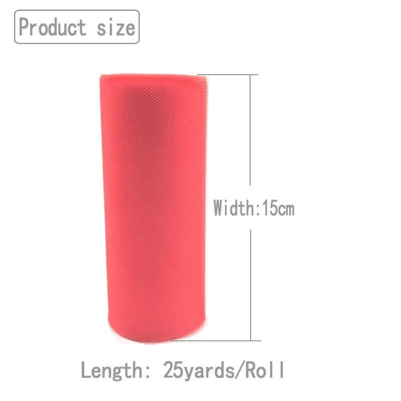25 yardas 15cm tul rollo carrete para tela tutú boda decoración Baby Shower Organza láser DIY manualidades cumpleaños fiesta suministros