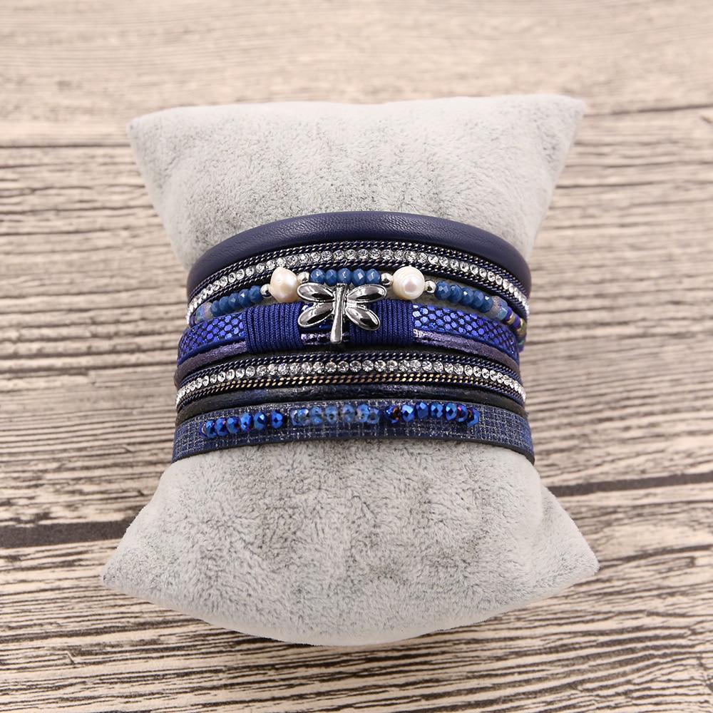 STRATHSPEY New Rhinestone Wide Magnetic Leather bracelets&bangles - Fashion Jewelry - Photo 3