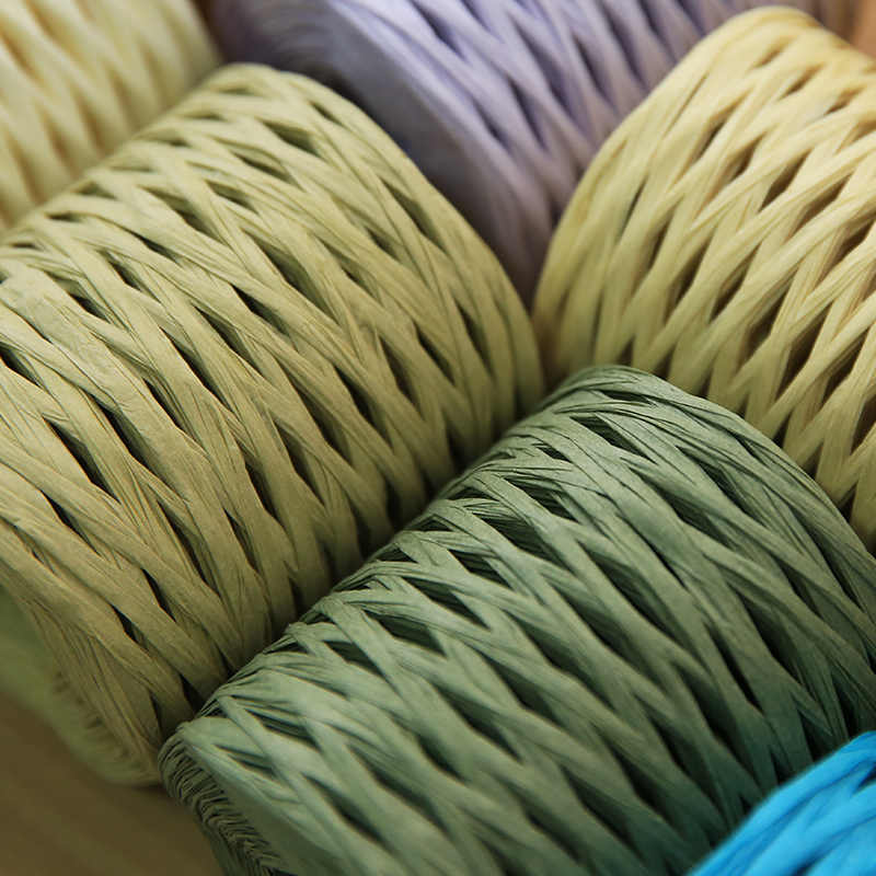 180 M/roll Raffia Stro Garen voor Hand Breien Mode Gehaakte Hoed Garen Diy Handgemaakte Handtassen Kussens Verpakking Wikkelen materiaal