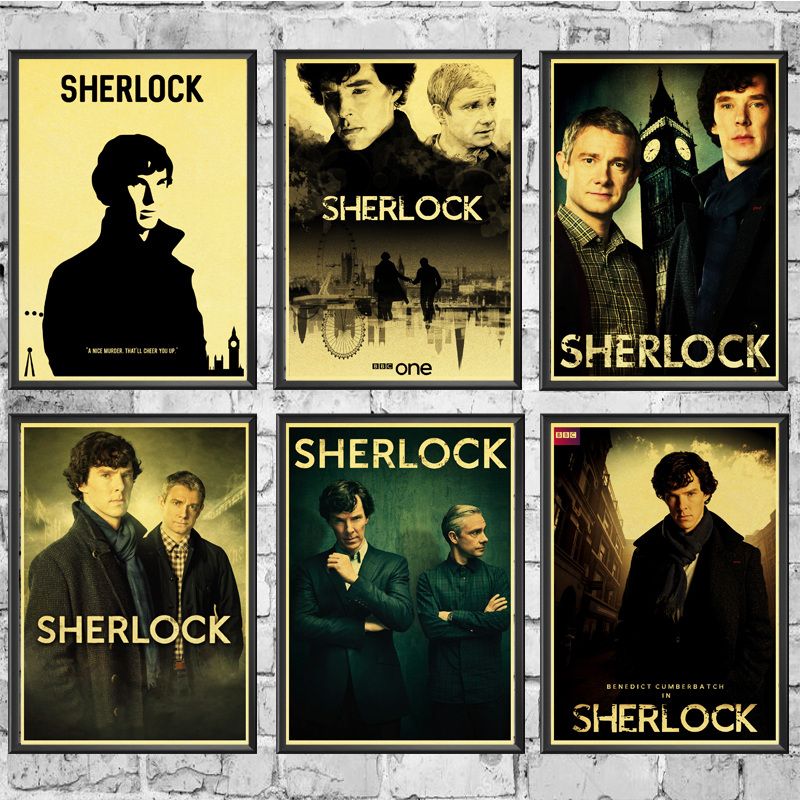 Sherlock Holmes American TV Series Wall Stickers Retro Poster Prints High Quality For Living Room Home Decoration Painting