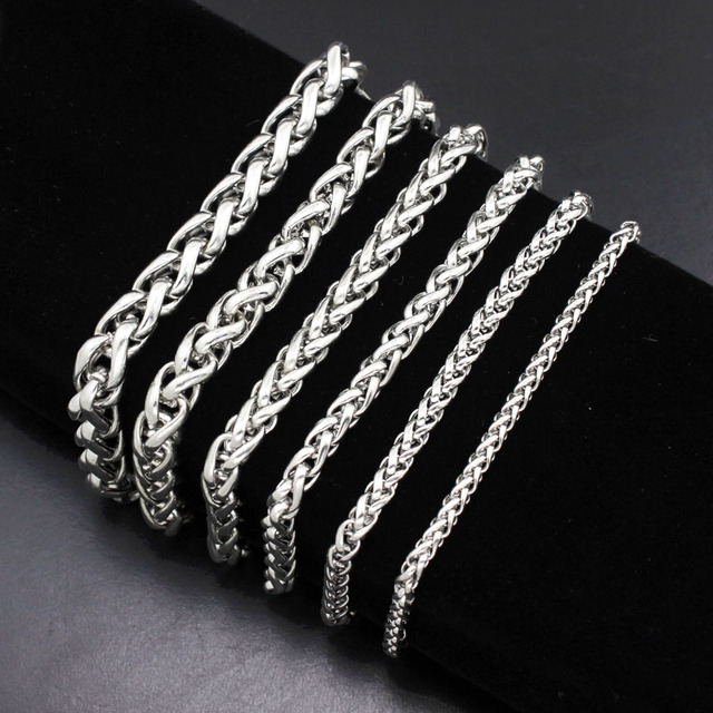 Diylocket Bracelet Men Stainless Steel Silver Color Curb Cuban Handcuffs Bracelets Mens Jewerly