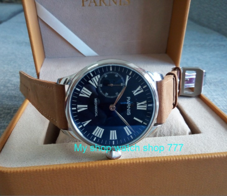 44mm PARNIS Blue dial Asian 6498 17 jewels Mechanical Hand Wind movement men's watch luminous Mechanical watches zdgd25A limited edition watch 50mm big dial parnis men s watch asian 6498 mechanical hand wind pvd black watchcase 84aa