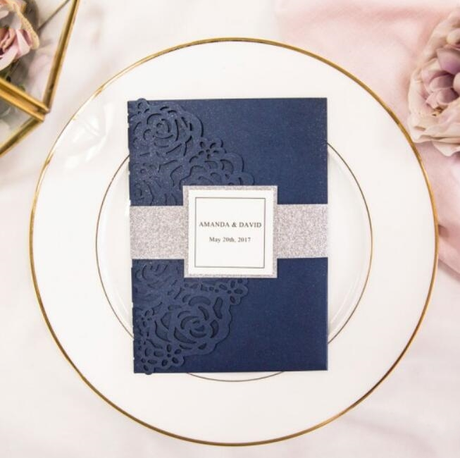 Customized Blue Laser Cut Floral Wedding Party Invitation Card With Band And RSVP 100 Sets Express