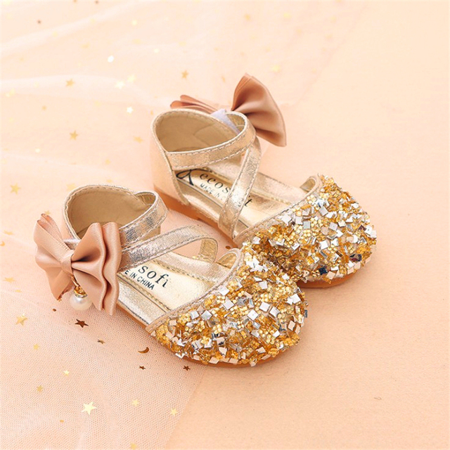 Gold Silver Pink summer Children Leather Shoes Casual Girls Princess Flat Heel Party Shoes Fashion Sequins Bow Pearl Kids Shoes