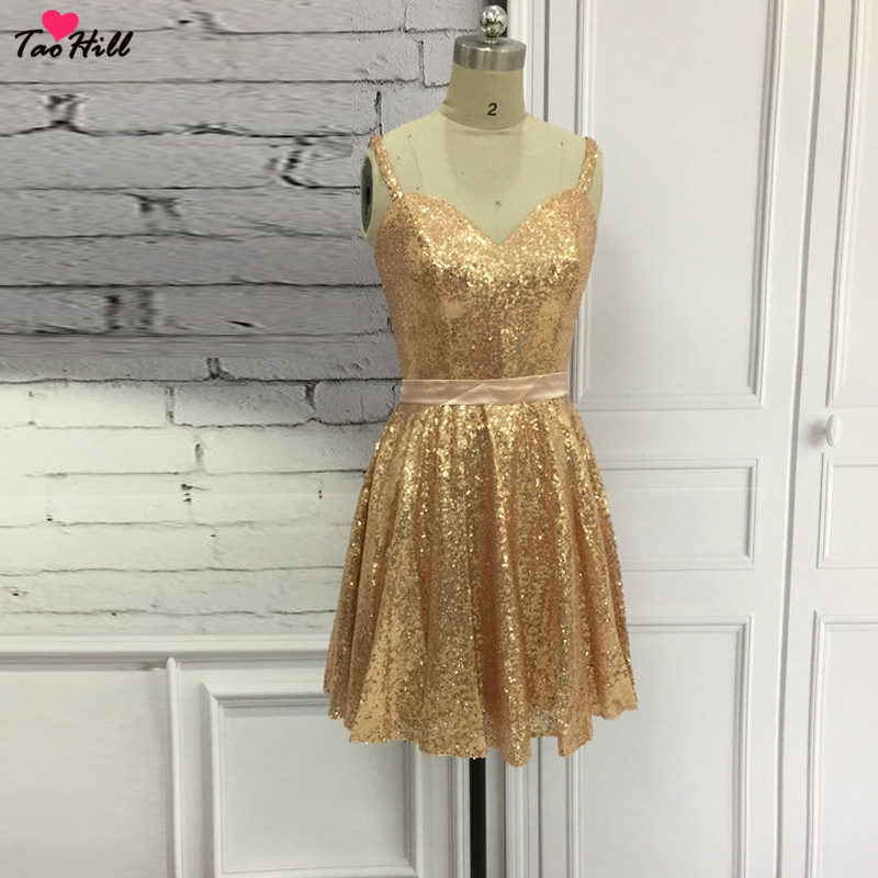 TaoHill Short   Cocktail     Dresses   A-line Straps Sweetheart Neck Champagne Gold Sequins Sparkly   Cocktail   Party   Dress